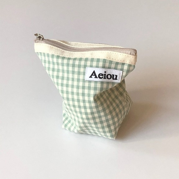 Out of stock / Aeiou Basic Pouch (M size)Blue Green Ginghamcheck