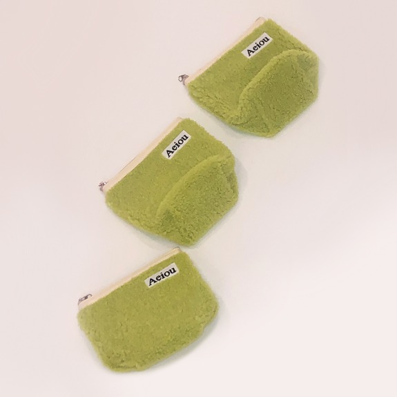 Aeiou Basic Pouch (M size) Green Bean fur