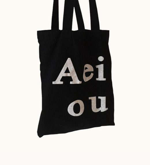 Aeiou Logo bag (Cotton 100%)washing black