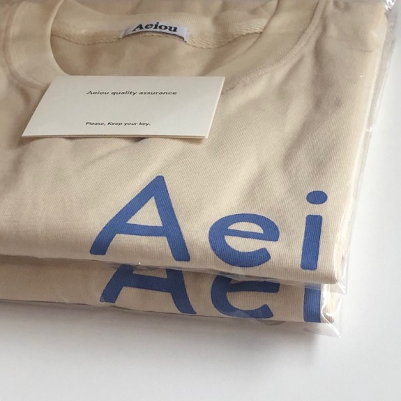 Out of stock / Aei    ou T-shirtMilktea (Neck rib ton on ton beige)