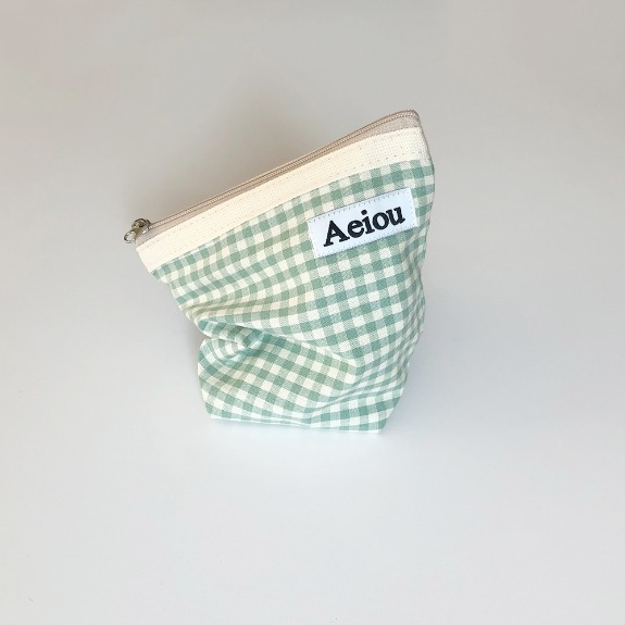 Aeiou Basic Pouch (M size)Blue Green Ginghamcheck