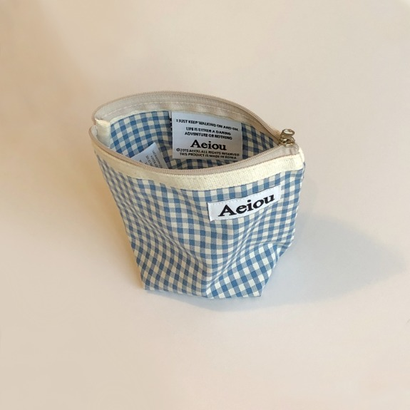 Out of stock / Aeiou Basic Pouch (M size)Baby Blue check