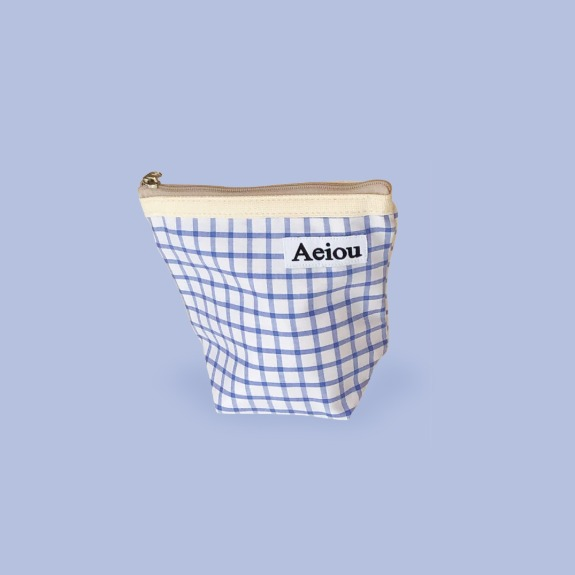 Aeiou Basic Pouch (M size) Water Road Grid