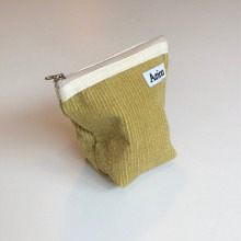 Out of stock / A.B.P / Aeiou Basic Pouch (M size) Yellow Cucumber corduroy