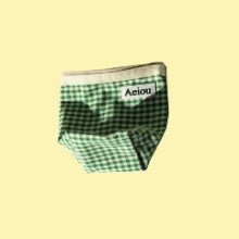 Restock in March / Aeiou Basic Pouch (M size)Spring green check