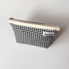 Out of stock / Aeiou Basic Pouch (L size) Black Ginghamcheck