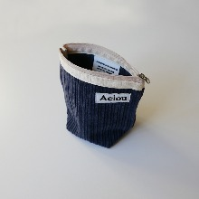 Out of stock / Aeiou Basic Pouch (M size)Ash blue Corduroy