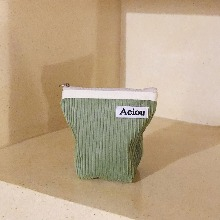 Out of stock / Aeiou Basic Pouch (M size)Pistachio Corduroy