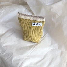 Out of stock / Aeiou Basic Pouch (M size) Yellow Cucumber corduroy