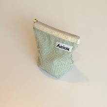 Aeiou Basic Pouch (M size)Blue Green Small Check