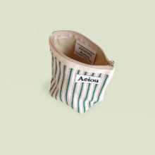 Aeiou Basic Pouch (M size) Merry Green Stripe