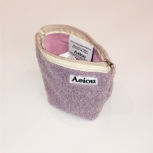 Aeiou Basic Pouch (M size) Taro Bubble fur