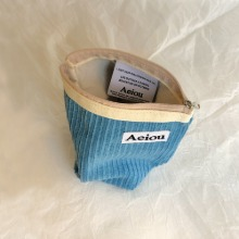 Aeiou Basic Pouch (M size)Oil Paint Blue Corduroy