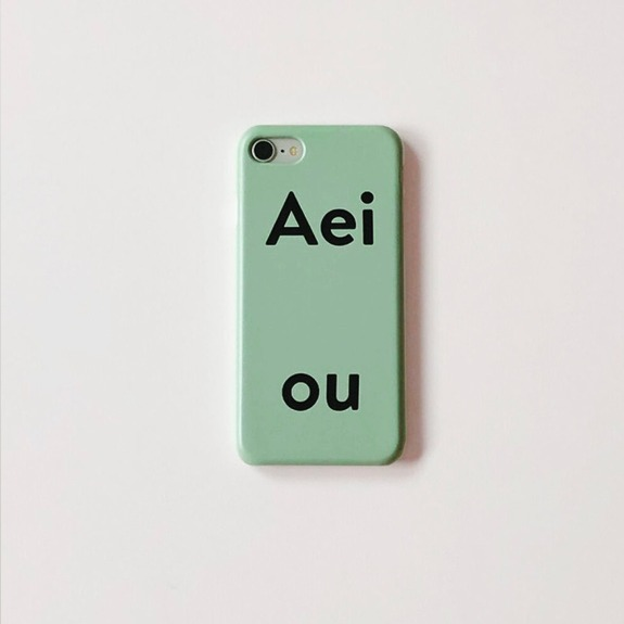 Aeiou Phone case Pale Blue Green