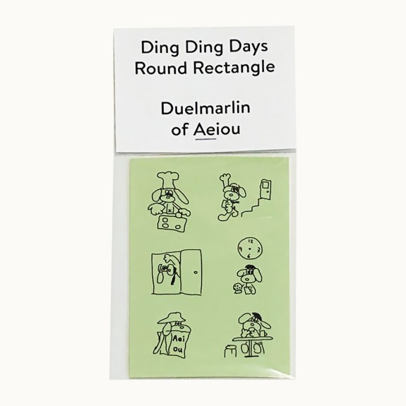 Ding Ding Days Round Rectangle  2 color sticker set