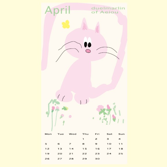 2021 4 Cat Pink Poster CalendarDuelmarlin of Aeiou