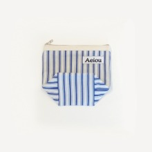 Aeiou Basic Pouch (M size) Merry Blue Stripe